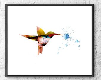 Humming bird painting, bird art, bird print, nursery decor, kids room decor - 50