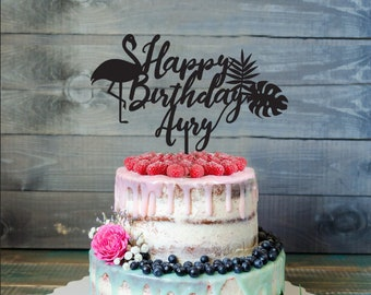 Flamingo Birthday Cake Topper, Customizable Birthday Cake Topper, Cake Topper, Silhouette flamingo Cake Topper- pool party cake topper