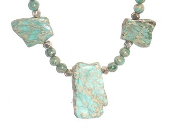 Seafoam Blue Aqua Terra Jasper Beads and Pendant Necklace