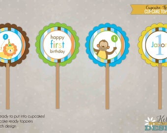 Sweet At One Boy Cupcake Toppers, Custom Zoo Animals 1st Birthday Decorations #B113-B
