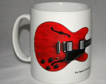 Guitar Mug. Eric Clapton's Gibson ES-335 Cream Guitar illustration.
