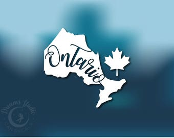 "Wall Vinyl Decal ""Ontario"" writing inside Ontario shape vinyl with Canadian maple leaf, Canada sticker"