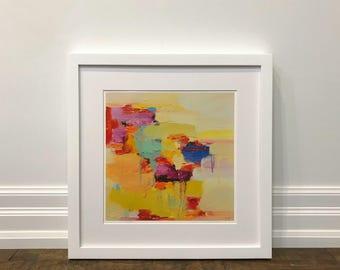 Matted Print, Abstract art print, wall art, giclee print, fine art print, sunlight, 16 x 16
