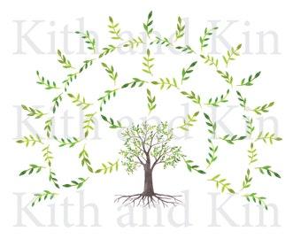 Genealogy Fan Chart Template - 4 Generations- BLANK