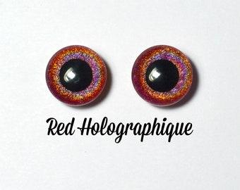 Eyechips 13 mm - Coloris Red Holographique Taille Pullip Modèles Récents