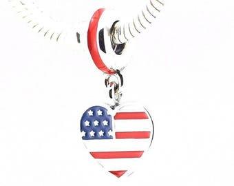USA Flag Charm - America Charm - US Heart Charm - I Love USA Charm - usa Bead - Fits all Charm Bracelets