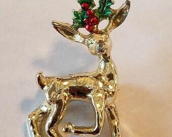 Vintage Gerry Gold Reindeer Pin, Vintage Pin