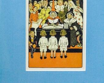 Witch Children Book Print, Children's Illustration Art Print, Vintage Book Print, Children's Book Illustration, Nursery Decor, Nursery Art
