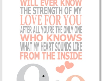 No One Else Will Ever Know the Strength of My Love, Peach Gray, Elephants, Kids Wall Art, Nursery Art, Baby Girl Room Decor, Quote, Print