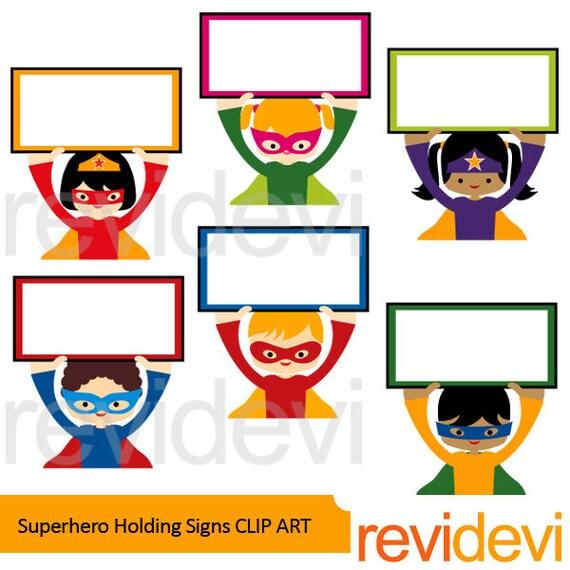 superhero holding signs clipart superhero clip art digital rh etsystudio com commercial clipart for teachers commercial clipart for teachers