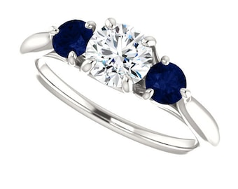 Moissanite and real sapphire ring