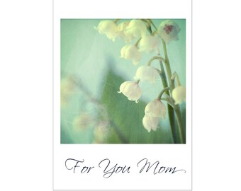 Mother's Day Card, Lily of the Valley Card, Flower Greeting Card, For You Mom, Blank Photo Card