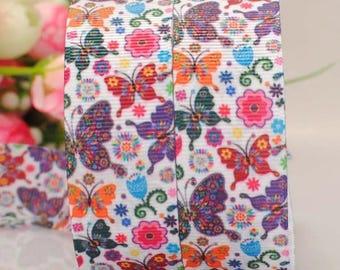 Pattern butterflies sold by meter 22 mm grosgrain Ribbon