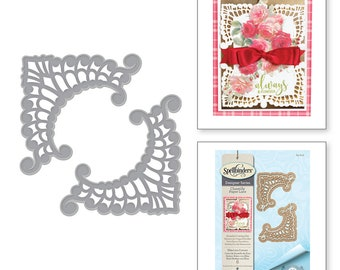 Spellbinders Shapeabilities Eliza Lace Corners Etched Dies Chantilly Paper Lace Collection by Becca Feeken S4-818
