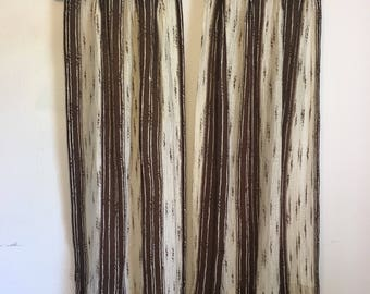 Brown Curtains, White Curtains, Striped Curtains, Curtain Pair, Vintage Curtains, Vintage Drapery