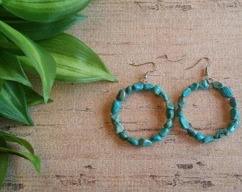 Turquoise Pebble Loop Earrings, Southwest earrings, boho earring, Native American style earrings.