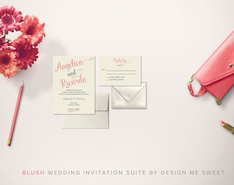 Blush Calligraphy Wedding Invitation Suite by Design Me Sweet
