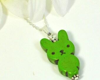 Kawaii Bunny Necklace Fern - Green Bunny Rabbit - Rabbit Necklace - Bunny Pendant -Rabbit Jewelry -Bunny Jewelry -Easter Necklace -Pet Bunny