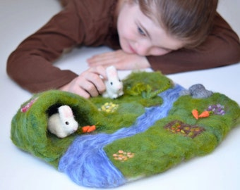 Spring Felted Rabbits Playmat Set - Eco-Friendly Kids Toys - Waldorf Inspired