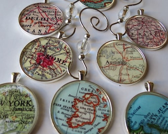 Gift Under 30, Vintage Map Ornament Sets, Holiday Ornament, Traveler Gift, Hometown Lover, Personalised Travel Ornament, Dehli India Gift