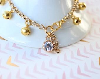Gold Bell Anklet with Rhinestone Charm, Boho Flower Girl, Tribal Chic,  Beach Wedding, Dance Costume, Gypsy Wedding, Jingle Bells Anklet