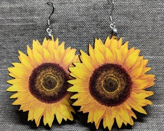 Sunflower Earrings / Stainless Steel / Handmade Jewelry / Yellow Daisy / Sunflower Jewelry / Flower Earrings / Flower Accessory