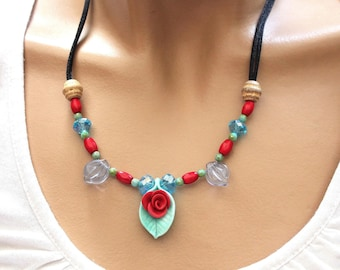 Romantic necklace cold porcelain and beads