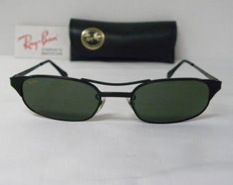 New Vintage B&L Ray Ban Signet Rectangle W1397 Black Sunglasses usa
