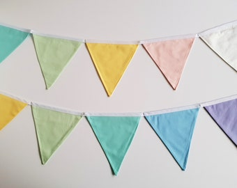 Pastel Rainbow fabric bunting banner flags, Rainbow Party, Fabric Garland, Circus Theme Party, Fabric Banner, Bunting Flags