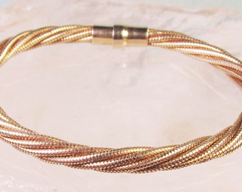 CLEARANCE - 25% OFF!  Italian Gold-Washed Solid 925 Sterling Silver Magnetic Twisted Mesh Bracelet