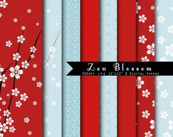 Zen Blossom  INSTANT DOWNLOAD Japanese Origami Papers Digital Paper Set