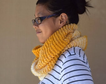 Knit cowl infinity scarf yellow white shades multicolor gift for her girls scarf gift for friend wool acrylic warm scarf girlfriend gift