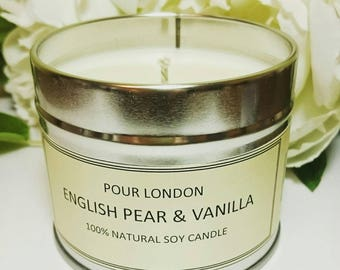 English Pear & Vanilla Eco Soy wax scented candle