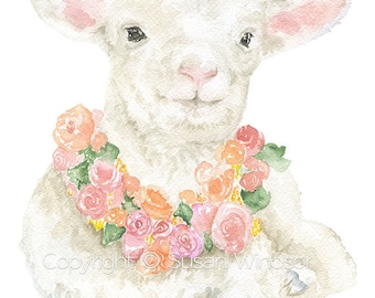 Lamb Floral Watercolor Painting Print - 5 x 7  - Giclee Print Reproduction- Nursery Art Girls Room Decor