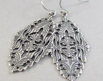 Gypsy Living,Earrings,Silver Earrings,Antique,Vintage Style,Wedding,Antique Earrings,Boho,Hamsa,Boho Earring,Hoop Earring.valleygirldesign