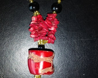 CLEARANCE * Red Coral Beaded Necklace