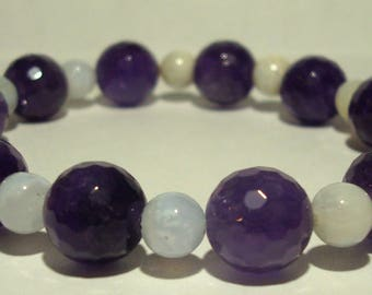 Amethyst and blue lace agate bracelet 24 beads 18 cm length