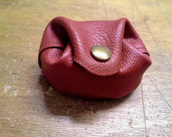 Real leather purse, color rust