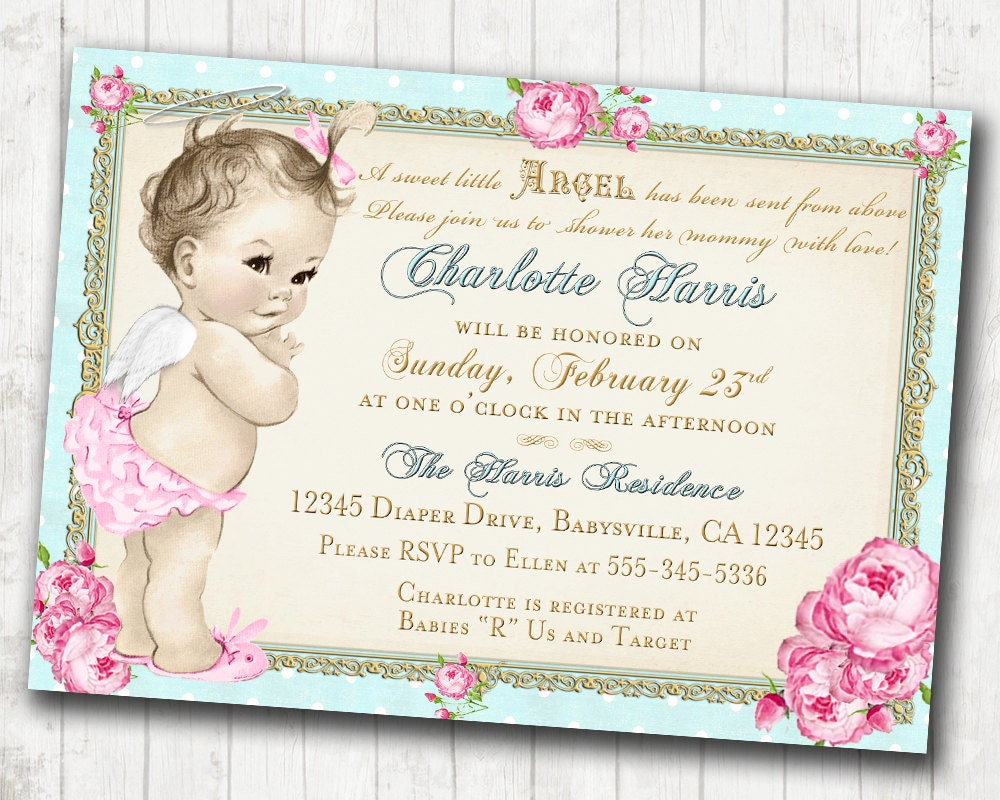 Baby shower invitation angel shabby chic roses angel zoom filmwisefo Gallery
