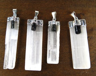LOW Stock - Silver Plated Selenite Blade Pendant With Black Tourmaline Point - (1x) (NS717-D)
