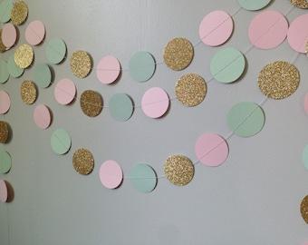 Gold glitter, light pink, & green mint circle paper garland, baby shower bridal shower birthday party wedding