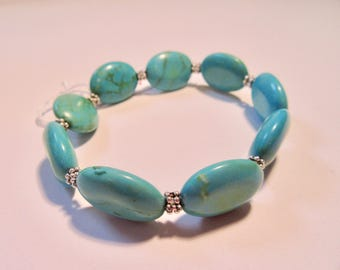 Women, Turquoise, Silver, Beaded, Bracelet, Jewelry