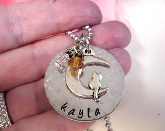 Cat and Moon Cat Necklace, Cat Jewelry, Animal Jewelry, Personalized Cat Jewelry, Hand Stamped Jewelry, Pet Jewelry
