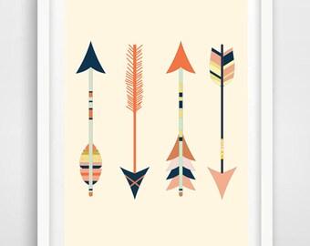 Magic Arrows,digital printable art,printable,arrow poster, three tribal arrows,arrow poster,four tribal arrows art printable poster A2+A3+A4