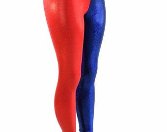 Red & Blue  Metallic Harlequin  High Waist Spandex Leggings Harley Quinn Cosplay 152116
