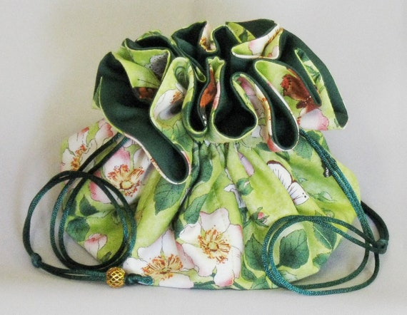 Jewelry Travel Tote---Drawstring Organizer Pouch---Green Floral with Butterflies---Large Size