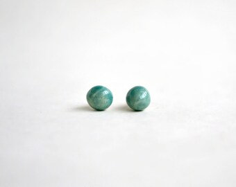Mini turquoise ceramic stud earrings - green posts - Jasmin Blanc jewelry