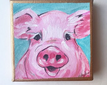 ORIGINAL Pig PAINTING on deep Canvas, Acrylic Gold Leaf, Original Art Gift Audrastyle Impressionism Abstract Farmhouse Kitchen
