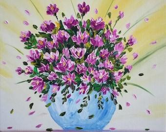 Flowers in vase, Palette knife, Spring, OriGinal, Gift idea, For Her