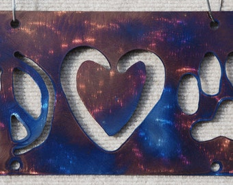 Metal Art Peace Love Paw Print Auto Plate/Sign